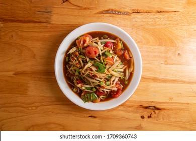 Thai food, northeast food, papaya salad, Som Tum, crab, pickled fish