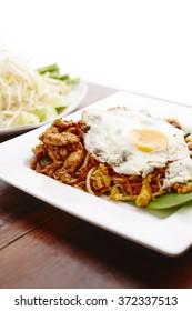 Thai food  pad thai with fry egg