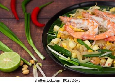 Thai food Pad Thai prawn shrimp top view on table