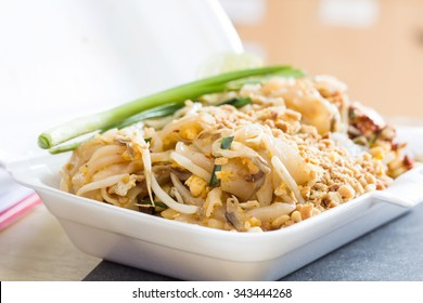 Thai Food Pad thai, Stir fry noodles with pork in Pad thai style ,served in Styrofoam of food container