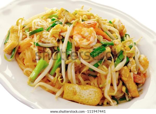 Thai food Pad thai , Stir fry noodles with shrimp