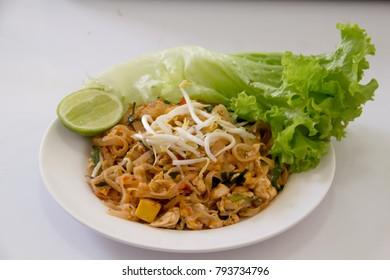 thai food pad thai in white background