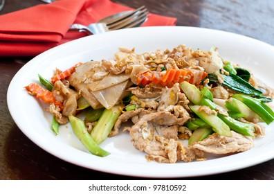 Thai food padthai fried noodle  on disk.
