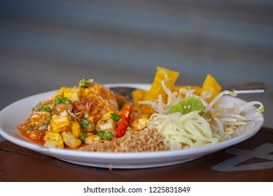Thai food padthai with shrimp  - Chao Phraya River , Pathumthani , Thailand