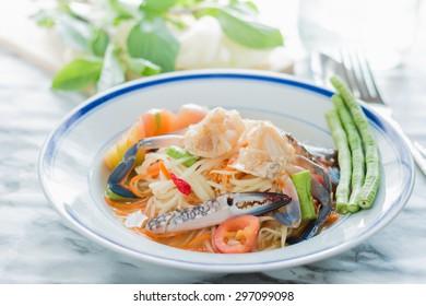 "Thai food papaya salad with pickled Blue crab ""Somtum"""