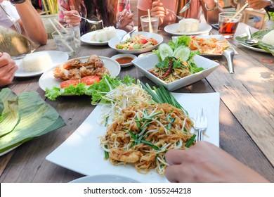 Thai food papaya salad (Som Tam), Grilled Chicken ,Asian style lunch in thailand.