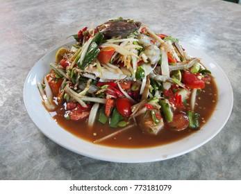 thai food papaya salad-som tum isolate on white background