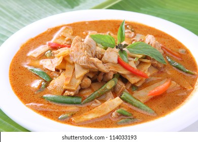 Thai Food Red Curry Chicken with Bamboo Shoots and Green Beans