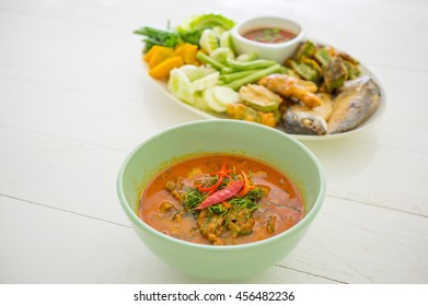 Thai Food Red Curry and Shrimp paste with fried mackerel and vegetable