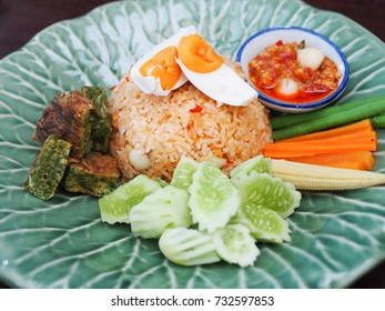thai food ,rice with chili paste with vegetables