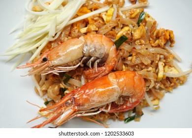 Thai Food Scene - Fried Rice Sticks with Big Shrimp or thai call Pad Thai Goong Sod