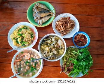 Thai food set on the table.