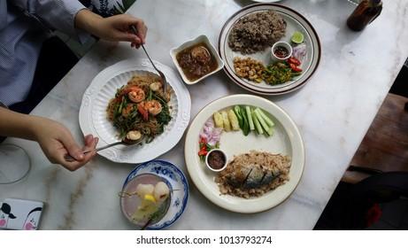 Thai food in a shady restaurant