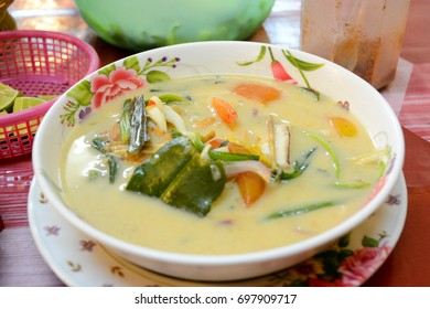 Thai food. Soup Tom Kha seafoof. Spicy and delicious coconut soup. Pattaya, Thailand
