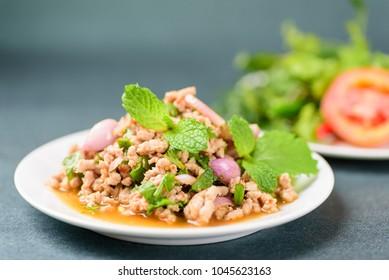 Thai food, spicy minced pork salad (Larb Moo)