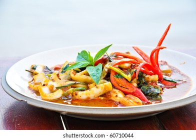 Thai Food  Spicy Squid Curry