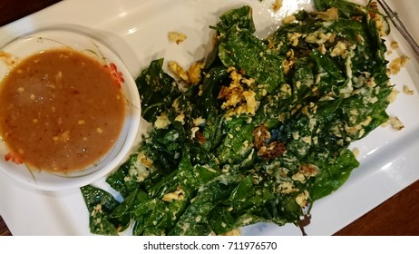 Thai Food - Stir Fried Liang Leaf with Eggs