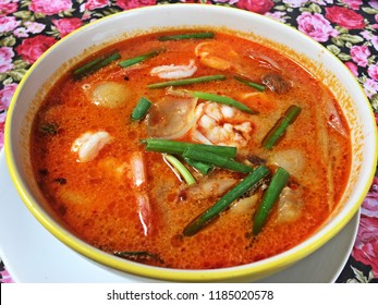 Thai food in Sukhothai (Thailand). Tomyam with prawns.