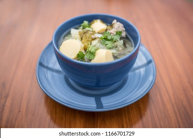 Thai food, Tom Chued Tao Hu Sarai, Tofu soup with chinese cabbage and seaweed one of the most common mild soup for Thai people especially having as breakfast with steam rice.