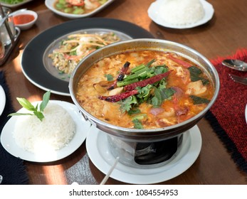 Thai food: Tomyum, fried noodle and rice