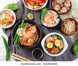 Thai Food Traditional Asian Cuisine Top View