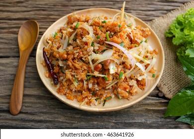 Thai Food (Yam Naem Khao Thot) Recipe Spicy original