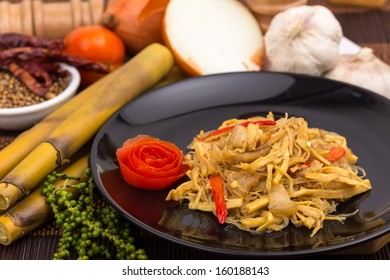 thai food,bamboo shoots sliced fried with pork and glass noodles