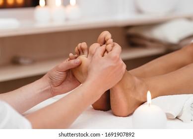Thai foot massage series in spa salon