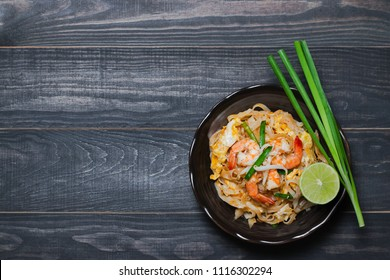 "Thai Fried Noodles ""Pad Thai"" with shrimp and vegetables"