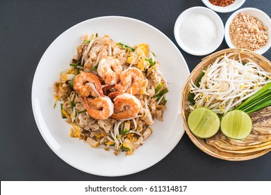 "Thai Fried Noodles ""Pad Thai"" with shrimps or prawns"