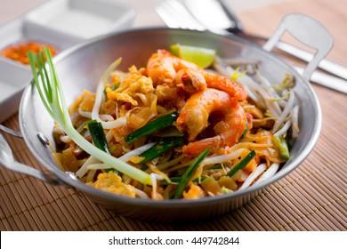 Thai fried noodles with prawn (Pad Thai), Thailand popuplar cuisine