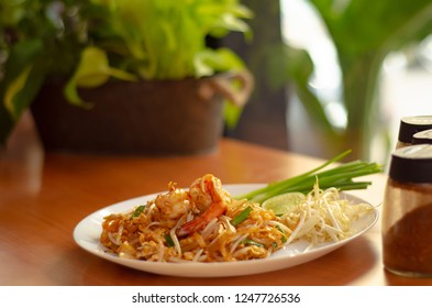 Thai Fried Noodles.Thai food in the restaurant.Shrimp paste on the fried noodles.