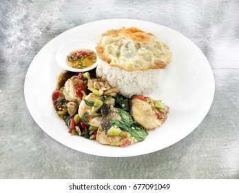 Thai fried rice fish with basil