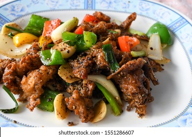 Thai Fried soft shell crab with black pepper in Thai restaurant