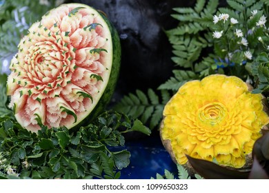 Thai fruit carving is a traditional. Thai art that requires neatness, precision, meditation, and personal ability. Fruit carving persisted in Thailand as a respected art for centuries.