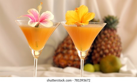 Thai fruit cocktail is a delicious drink made from guava juice along with pineapple and orange.