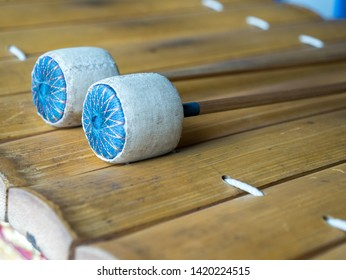 Thai gamelan musical equipment. Wood used for playing xylophone.Xylophone is a Thai musical instrument which. Traditional wooden xylophone