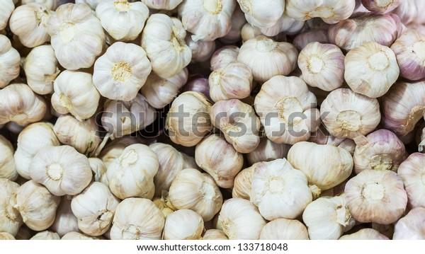 Thai garlic stacks sale in market