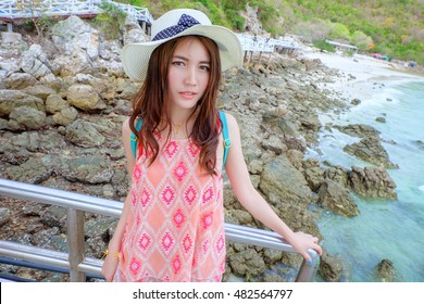 Thai girl on The Beach at the sea,portrait outdoor Thai girl beautiful on The Beach at the sea