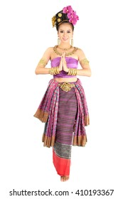 Thai girl in traditional costume. Thai tradition dance. Northern Thailand costume set.