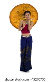 thai girl in traditional isaan style clothes with umbrella, isolated on white