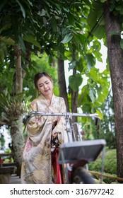 Thai girl wearing Kimono