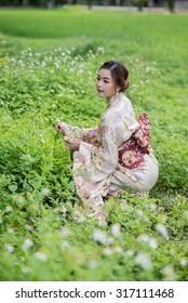 the thai girl wearing kimono
