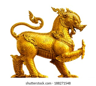 Thai golden lion statue style on white background This statue is public in thailand. No any trademark or restrict matter in this photo