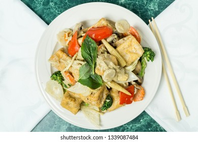 Thai Green Curry Tofu with Mixed Vegetables, Asian Food