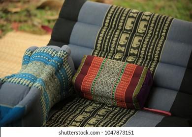 Thai handmade cotton pillow decorated
