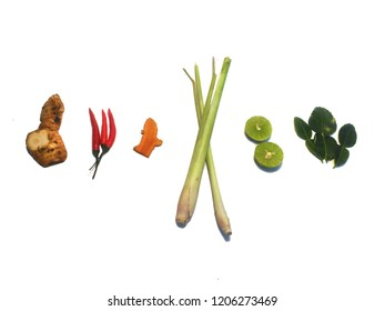 Thai herb for  tomyum white background