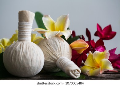 Thai herbal compress ball with plumeria relax massage