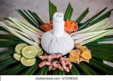 Thai herbs - Thai spa ingredient - lemongrass, bergamot, indian bael, turmeric, pandan, zingiber cassumunar