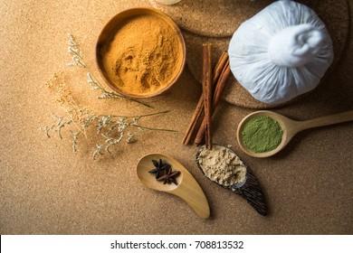 Thai herbs and spa massage, Nature medicine, Herbals ingredient such as cinnamon stick, turmeric, bergamot and dried mangosteen powder.